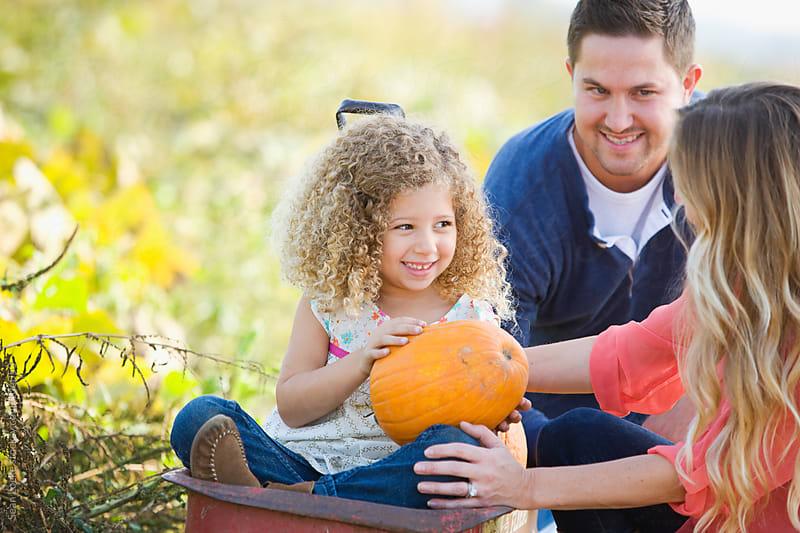 Pumpkins: Girl Holding Favorite Pumpkin by Sean Locke for Stocksy United