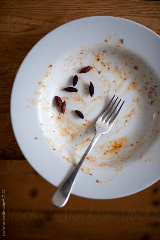 empty plate with remains of a meal  by Lee Avison for Stocksy United