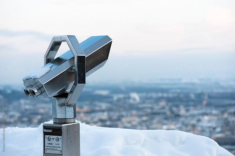 Public telescope in winter landscape by Robert Kohlhuber for Stocksy United