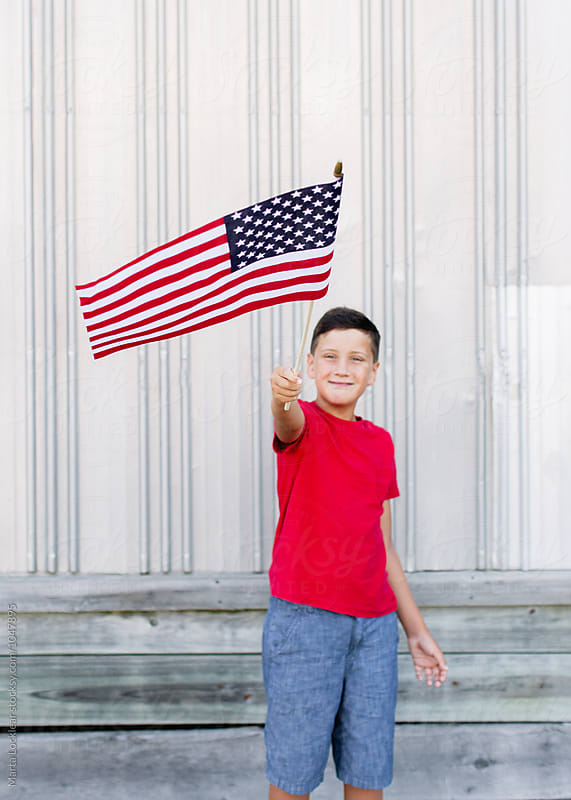 Boy Celebrating a Patriotic Holiday