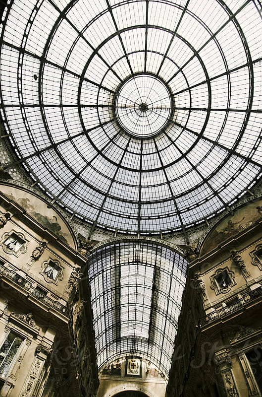 Dome at shopping center Galleria Vittorio Emanuele II - Milan, Italy, Europe by Robert Kohlhuber for Stocksy United