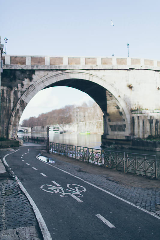 Bicycle path near Tiber River by Tommaso Tuzj for Stocksy United