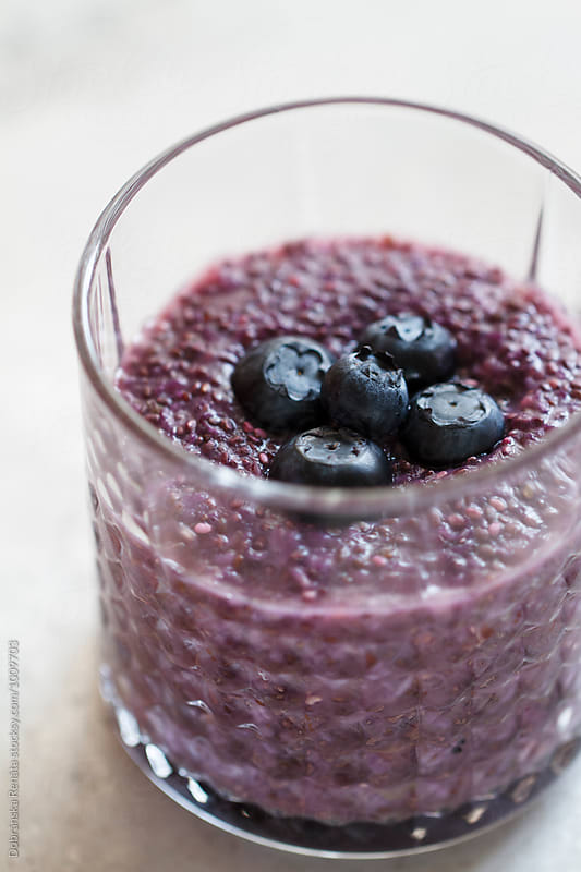 Chia pudding with blueberries by Dobránska Renáta for Stocksy United