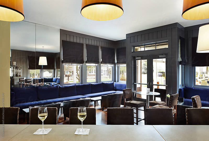 Bar and lounge at upscale restaurant  by Trinette Reed for Stocksy United