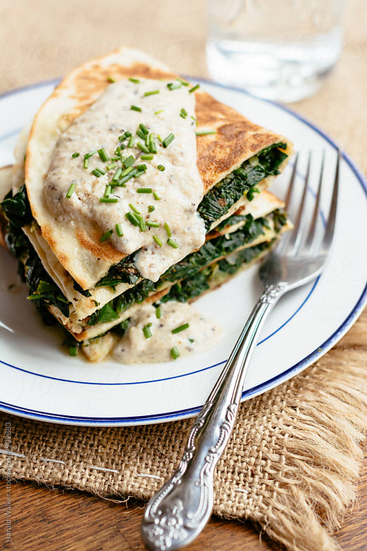 Spanakopita Quesadillas by Harald Walker for Stocksy United