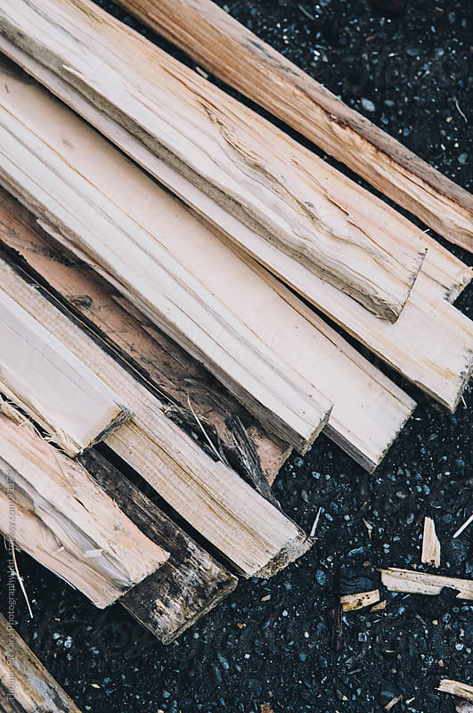 Freshly chopped firewood outside a cabin / hut, New Zealand. by Thomas Pickard for Stocksy United