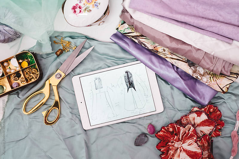 Pastel Fabrics and Sketches Ready for Clothes Design  by Katarina Radovic for Stocksy United