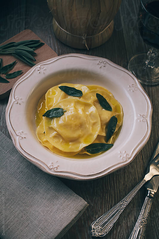 Ravioli in Brown Butter Sage Sauce by Davide Illini for Stocksy United