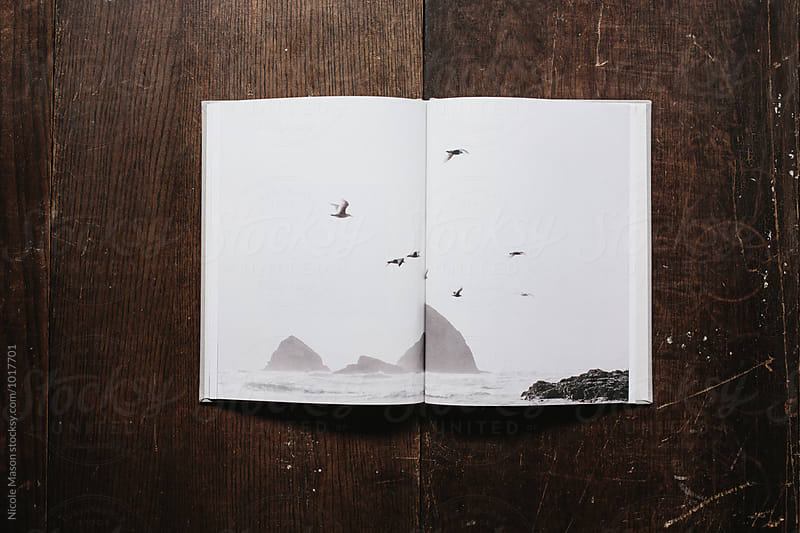 book of coast inspired photographs open on wood table by Nicole Mason for Stocksy United