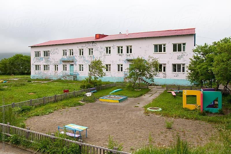 Russian delipidated public school building by Mihael Blikshteyn for Stocksy United