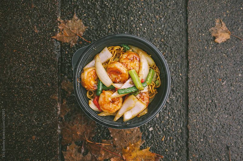 Chinese Food on the Sidewalk by Eric Bowley for Stocksy United