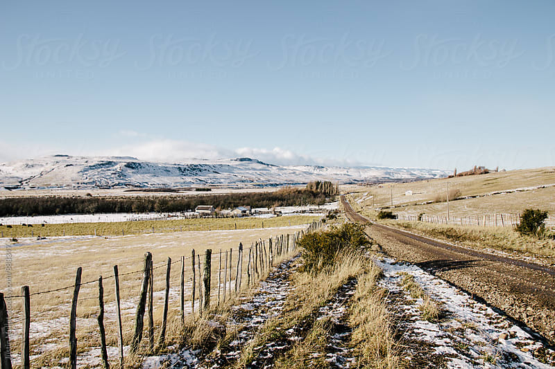 A fence line along a rural dirt road in Patagonia, Chile.  by Justin Mullet for Stocksy United