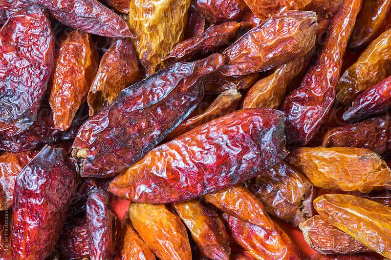 Dried chili background by Marilar Irastorza for Stocksy United