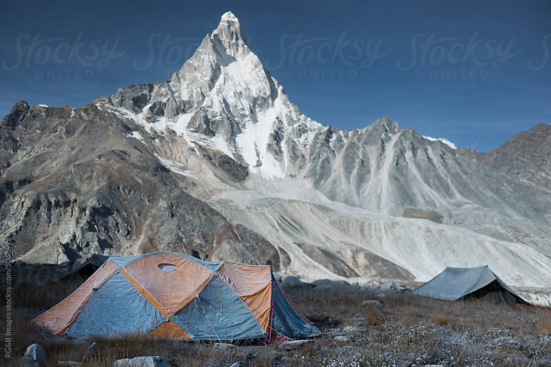 expedition tent in front of mountain by RG&B Images for Stocksy United
