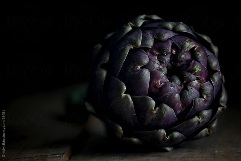 Fresh artichoke with dark background by Orsolya Bán for Stocksy United