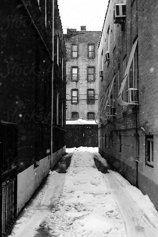 Alley way in Brooklyn NY during Christmas snow by Eddie Pearson for Stocksy United