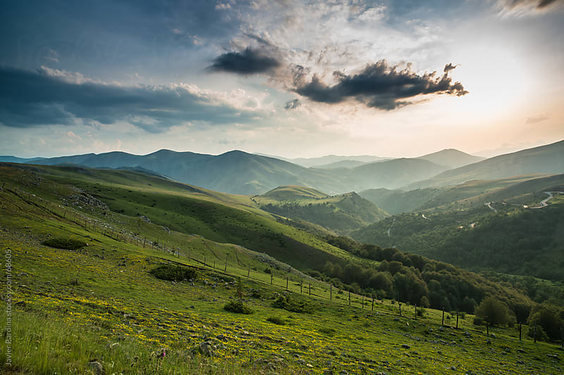 Landscape of green meadows at sunset by Javier Pardina for Stocksy United