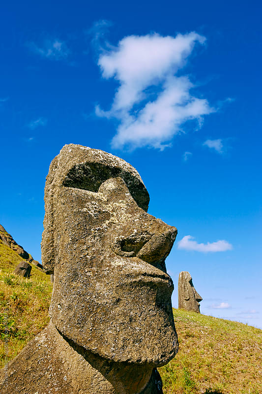 South America, Chile, Rapa Nui, Easter Island, giant monolithic stone Maoi statues at Rano Raraku by Gavin Hellier for Stocksy United