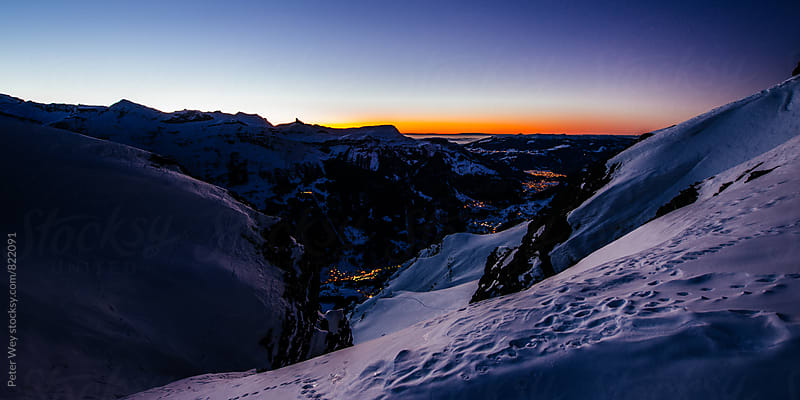 Sunset view from Lauberhorn by Peter Wey for Stocksy United