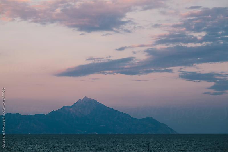 Seascape by dusk in Greece, Athos by Aleksandar Novoselski for Stocksy United