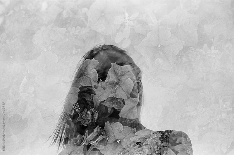 Double exposure woman portrait by Milles Studio for Stocksy United