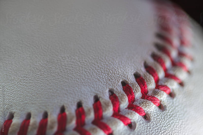 Extreme Close Up of a Baseball by Helen Sotiriadis for Stocksy United
