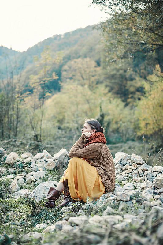 Woman in autumn nature by Aleksandra Kovac for Stocksy United