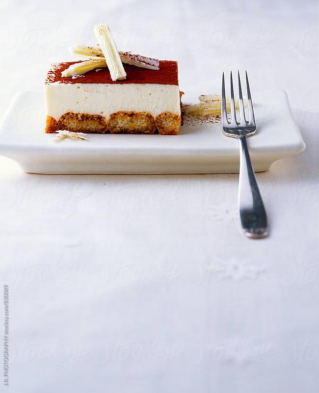 Tiramisu cake on plate by J.R. PHOTOGRAPHY for Stocksy United