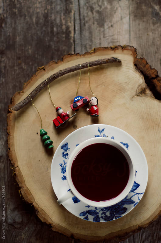 tea and christmas ornaments  by Crissy Mitchell for Stocksy United