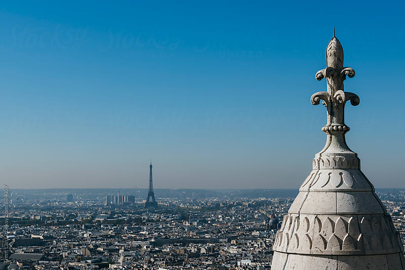 Amazing skyline of Paris and Eiffel Tower from Sacre Coeur by Trent Lanz for Stocksy United