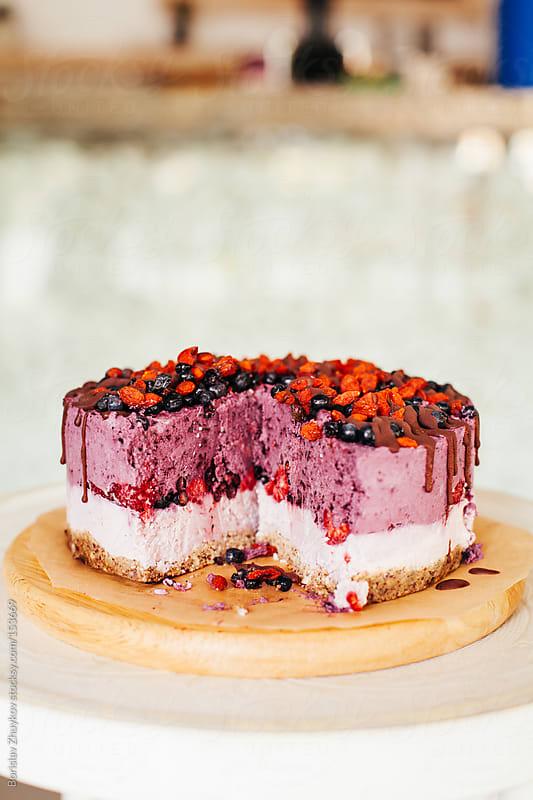 Purple raw vegetarian cake  by Borislav Zhuykov for Stocksy United
