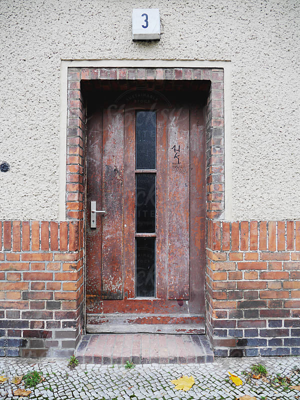 Old grunge door with the number 3 by rolfo for Stocksy United