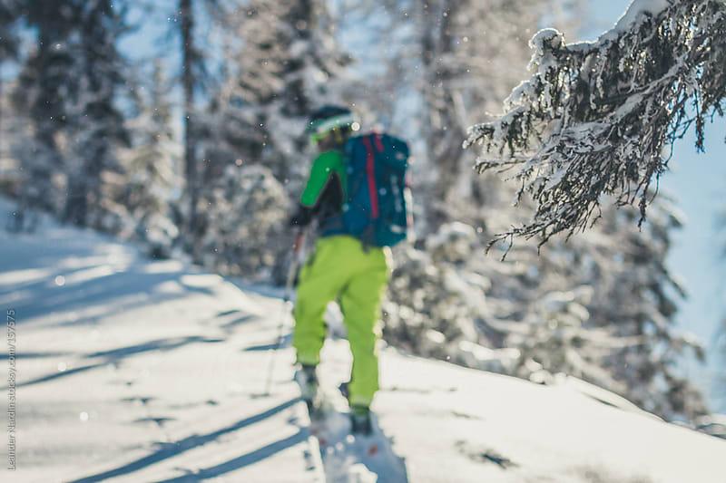 Ski tourer in austian winter landscape by Leander Nardin for Stocksy United