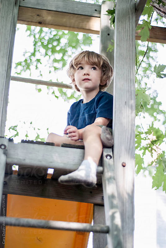 Child sits at the top of his backyard playset by Cara Dolan for Stocksy United