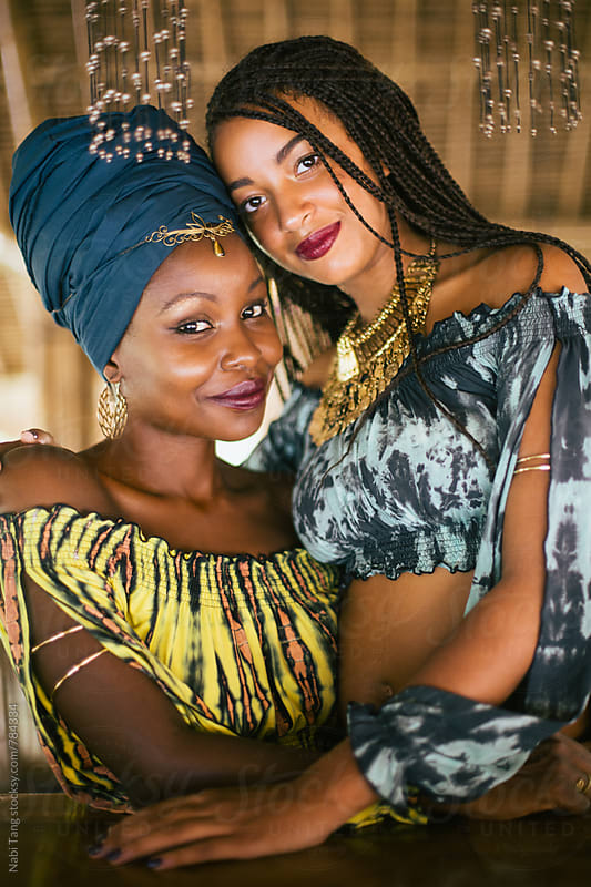 Beautiful stylish african women portrait in tie dyed bamboo cotton clothes by Nabi Tang for Stocksy United