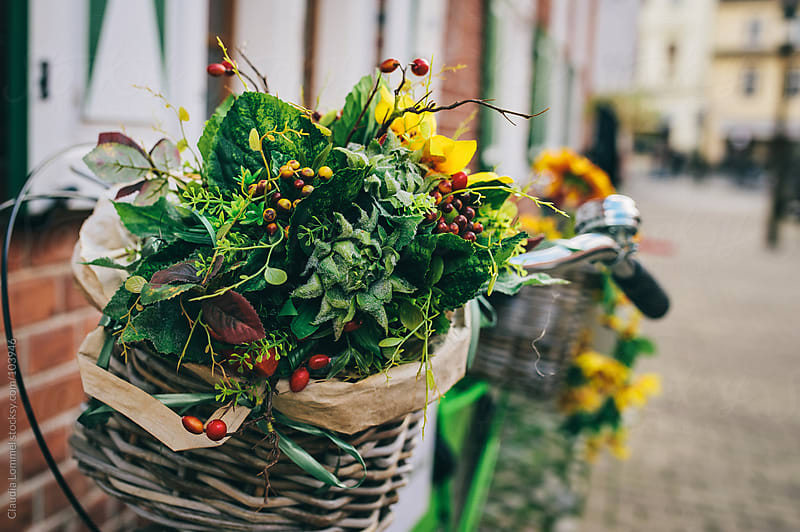 Basket of Flowers on a Bicycle by Claudia Lommel for Stocksy United