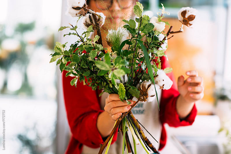 Florist Making a Flower Bouquet by Lumina for Stocksy United