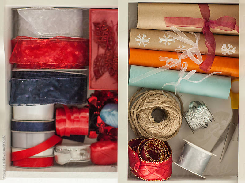 Gift Wrapping Kit in a Drawer by Mosuno for Stocksy United