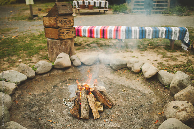 campfire details by Nate & Amanda Howard for Stocksy United