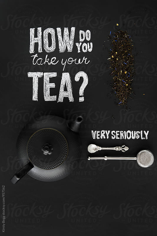 Teapot and loose tea flatlay by Kirsty Begg for Stocksy United