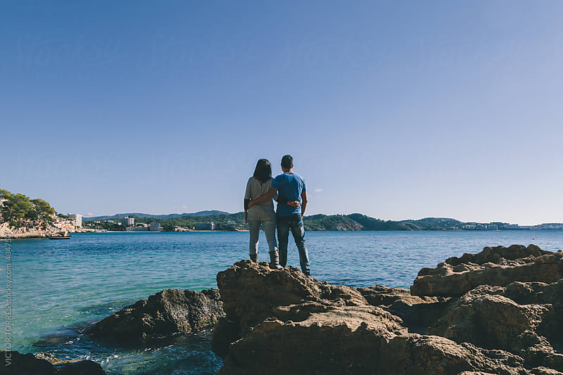 Beautiful Couple in the Mediterranean Coast by VICTOR TORRES for Stocksy United