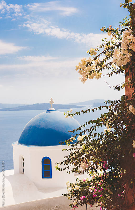 Church in the town of Oia, Santorini by Nasos Zovoilis for Stocksy United