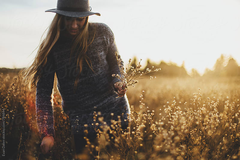 Young Blonde Woman Picking Flowers in Field by Evan Dalen for Stocksy United