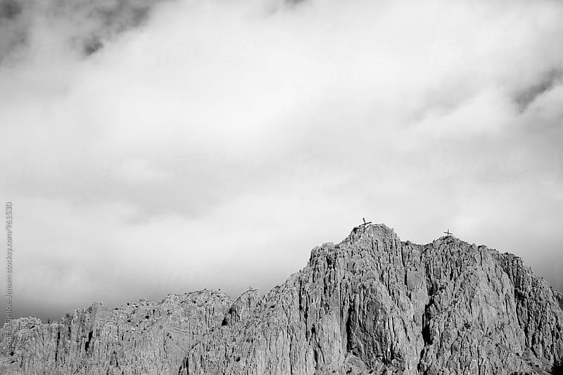 Crosses on a mountain top by Ann-Sophie Fjelloe-Jensen for Stocksy United