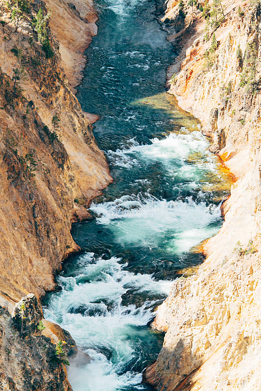 White Water Rapids Along Yellowstone River Canyon by Luke Mattson for Stocksy United