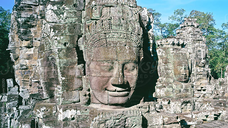 Bayon Temple, Myriad Stone Heads, Angkor, UNESCO World Heritage Site, Siem Reap, Cambodia, Indochina, Southeast Asia, Asia by Gavin Hellier for Stocksy United