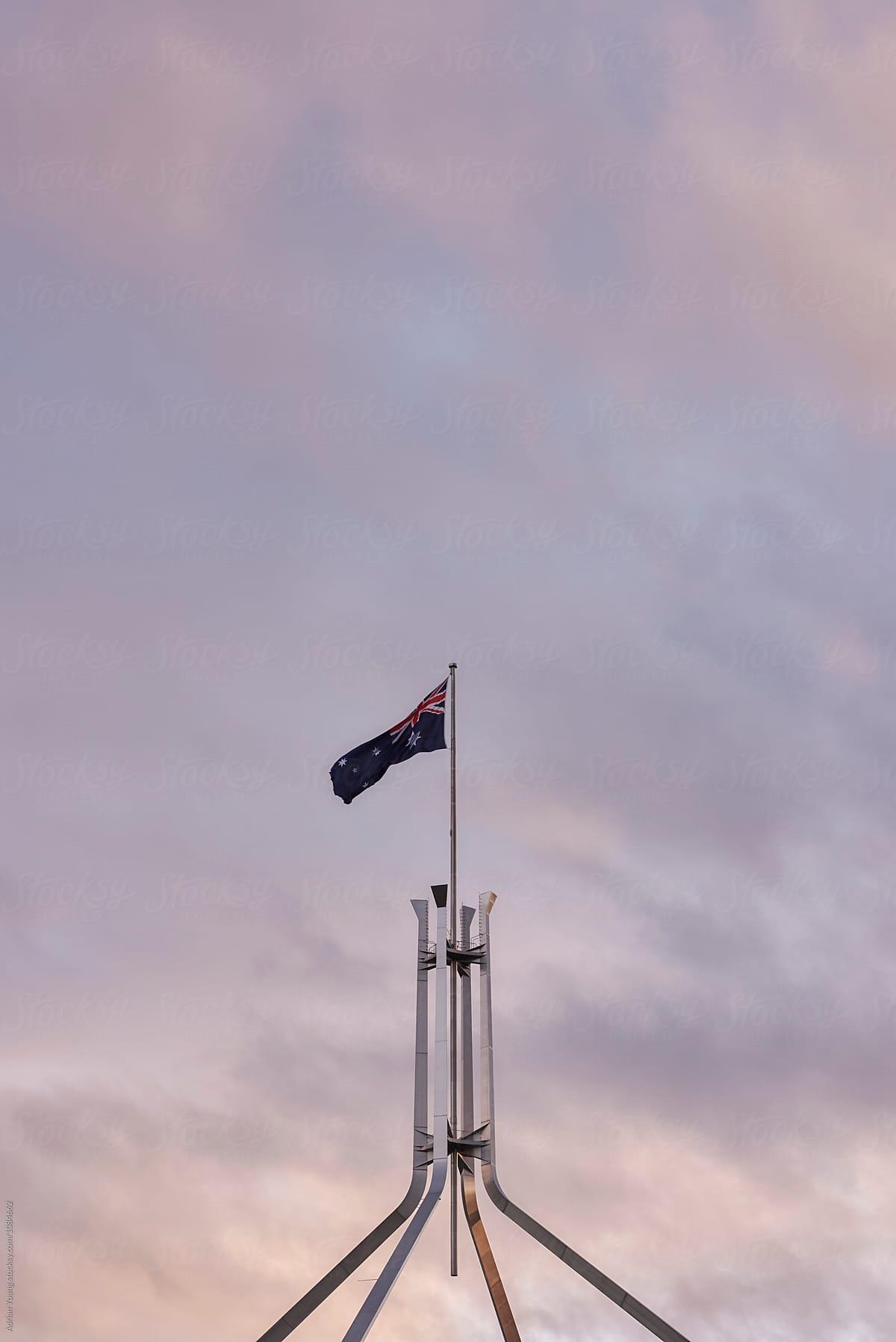 Stock Photo - Australian Flag Above Parliament House, Canberra
