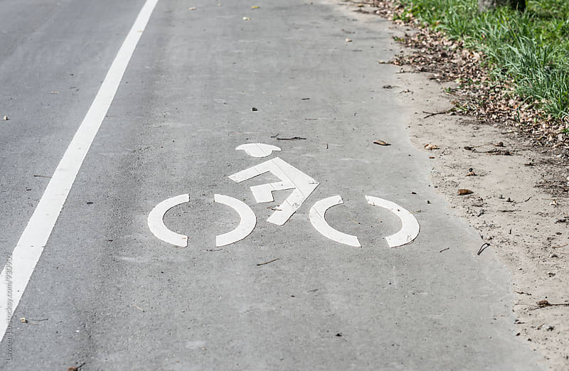 Icon of bicycle path on road by Lawren Lu for Stocksy United