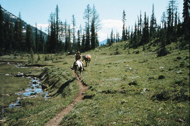 Horseback on a trail by Jeff Marsh for Stocksy United