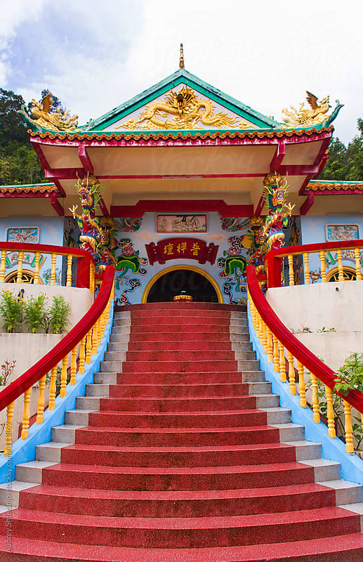 Chinese buddhist temple / Temple of Buddha of compassion by Audrey Shtecinjo for Stocksy United